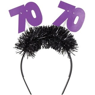 """Club Pack of 12 Purple and Black Age 70 Flashing Birthday Party Headbands 12.5"""""""