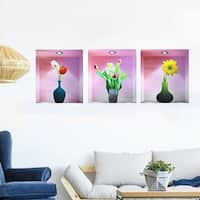 "Home Room PVC Flower Vase Pattern Removable 3D Magic DIY Wall Decoration Art Sticker Decal 11.8""x15.7"""