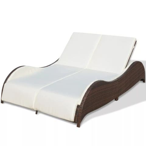 "vidaXL Double Sun Lounger with Cushion Poly Rattan Brown - 79"" x 52"" x 18"""