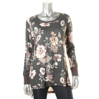 Eyeshadow Womens Juniors Floral Print Hi-Low Tunic Top