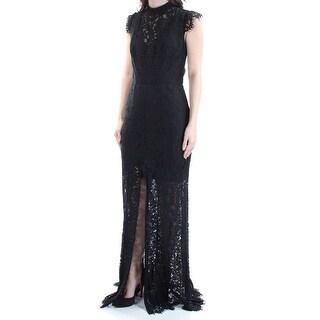 Womens Black Floral Cap Sleeve Full Length Sheath Formal Dress Size: 4