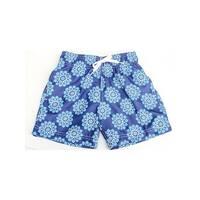 Azul Boys Blue Drawstring Waist Stylized Pinwheel Swim Shorts