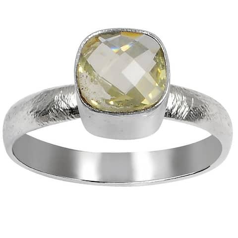 Lemon Quartz Brass Cushion Fashionable Rings by Orchid Jewelry