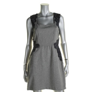 Teeze Me Womens Juniors Casual Dress Lace Trim Sleeveless