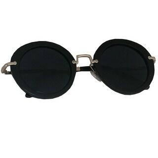 Kiss Womens Black Round Lenses Flat Frame Metal Bridge Sunglasses