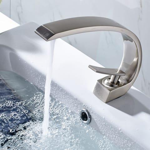 Nickel Single Hole Arch Bathroom Sink Vessel Faucet