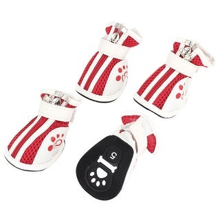 2 Pair Pet Dog Chihuahua Zipper Up Netty Shoes Boots Booties White Red Size S