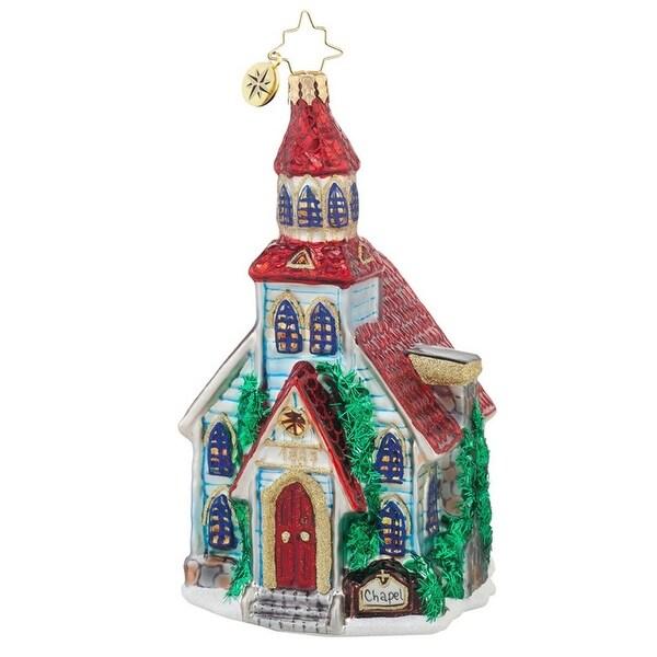 Christopher Radko Glass Winter Worship Religious Chapel Christmas Ornament #1017864
