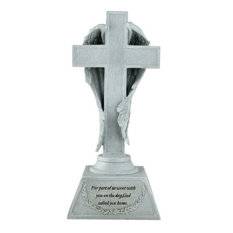 "10"" Gray Cross with Angel Wings Religious Bereavement Table Top Memorial"
