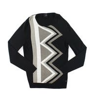Alfani NEW Black Beige Men Large L Cashmere Blend Crewneck Sweater