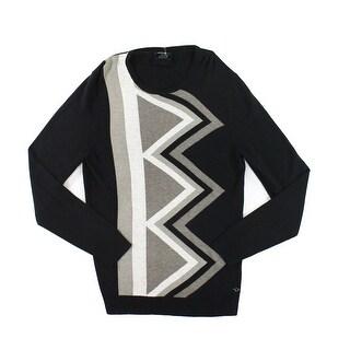 Alfani NEW Deep Black Mens Size Medium M Geometric Crewneck Sweater