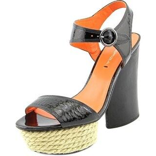Via Spiga Novia Women Open Toe Patent Leather Black Platform Heel