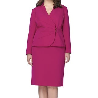 Tahari by ASL NEW Purple Women's 20W Plus Stand Collar Skirt Suit Set