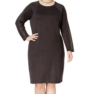 Calvin Klein NEW Gray Womens Size 3X Plus Embellished Sweater Dress