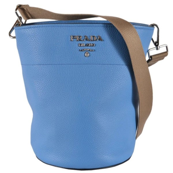 429ce01e30d2 Prada 1BE012 Vitello Daino Secchiello Mare Blue Leather Bucket Purse Handbag  - Sky Blue