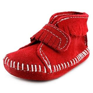 Minnetonka Vel Front Strap Infant Suede Red Moccasins