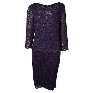 Alex Evenings Women's Illusion Layered Sequined Lace Dress - Eggplant - 10