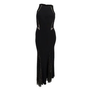 Xscape Women's Illusion Lace-Trim Mermaid Gown - Black/nude