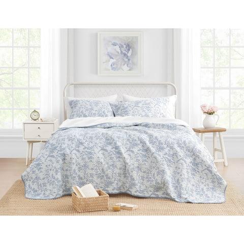 Laura Ashley Amberley Cotton Reversible Blue Quilt Set
