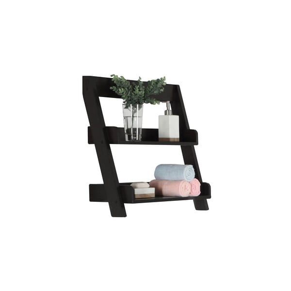 "25.25"" Black Contemporary Wall Mounted Bathroom Accent Shelves - N/A"
