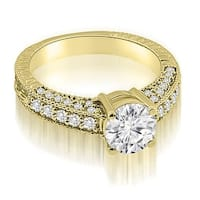 1.17 cttw. 14K Yellow Gold Antique Milgrain Round Cut Diamond Engagement Ring