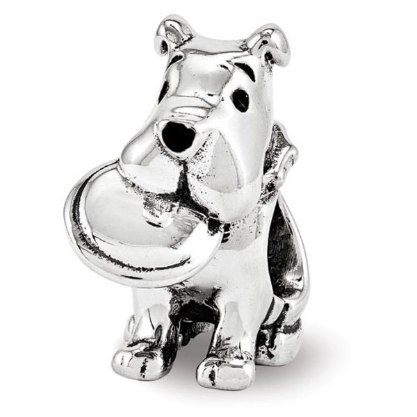 Sterling Silver Reflections Dog With Flying Disc Bead (4mm Diameter Hole)