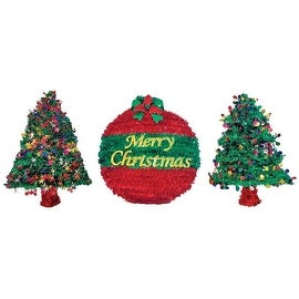 "FC Young ACE-DSP Tinsel Wreath/Tree Silhouette, 18"", Multicolored"
