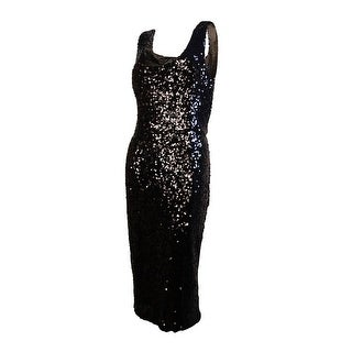 French Connection Women's Scoop Neck Sequined Slit Dress