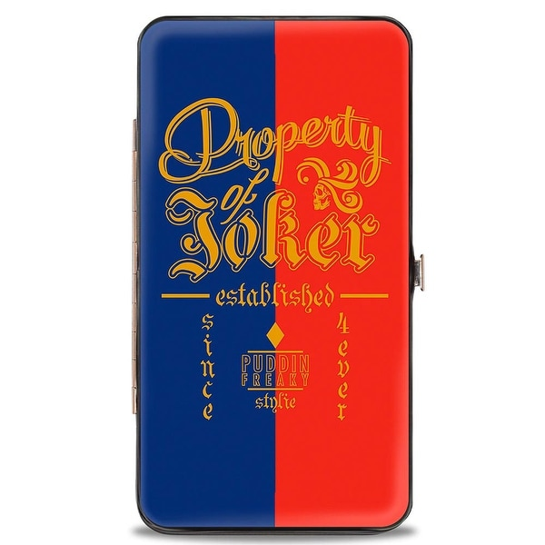 Suicide Squad Property Of Joker Puddin Freaky Stylie Blue Red Gold Hinged Hinge Wallet - One Size Fits most