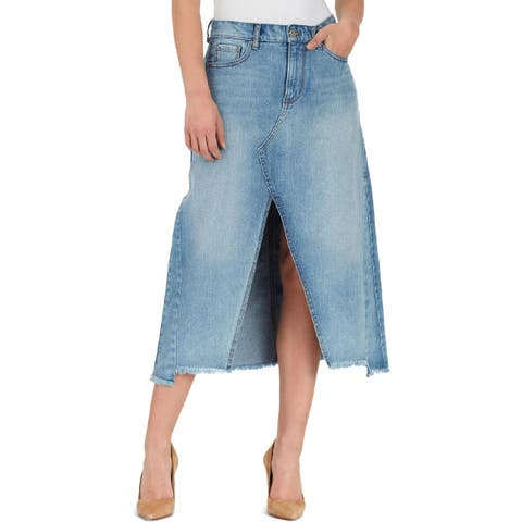 William Rast Womens Maxi Skirt Denim Split Hem