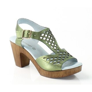 Eric Michael NEW Green Tyra Shoes 7M Platforms Leather Sandals