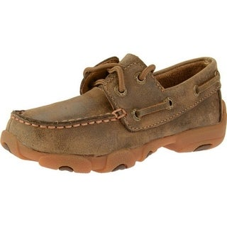 Twisted X Casual Shoes Boys Kids Leather Moc Slip On Brown CDM0002