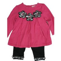 Carter's Baby Girls Pink Flower Applique Ruffle 2 Pc Leggings Set 12-24M
