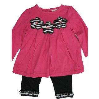 Carter's Baby Girls Pink Flower Applique Ruffle 2 Pc Leggings Set 12-24M