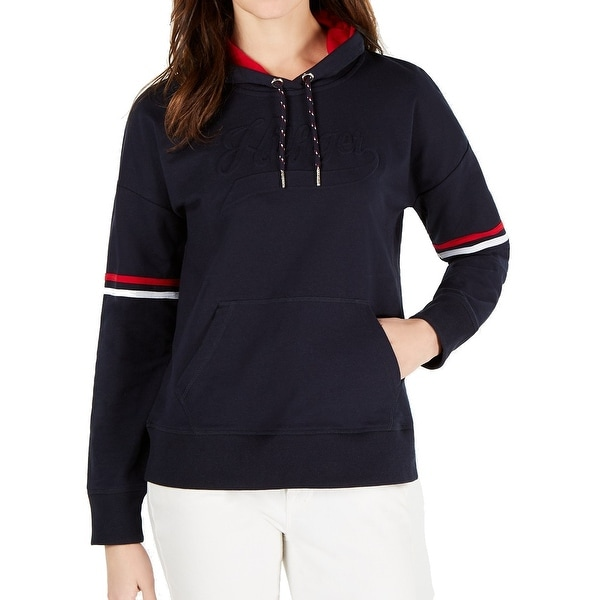 New Tommy Hilfiger Navy Blue Logo Womens Pullover Hoodie Size S