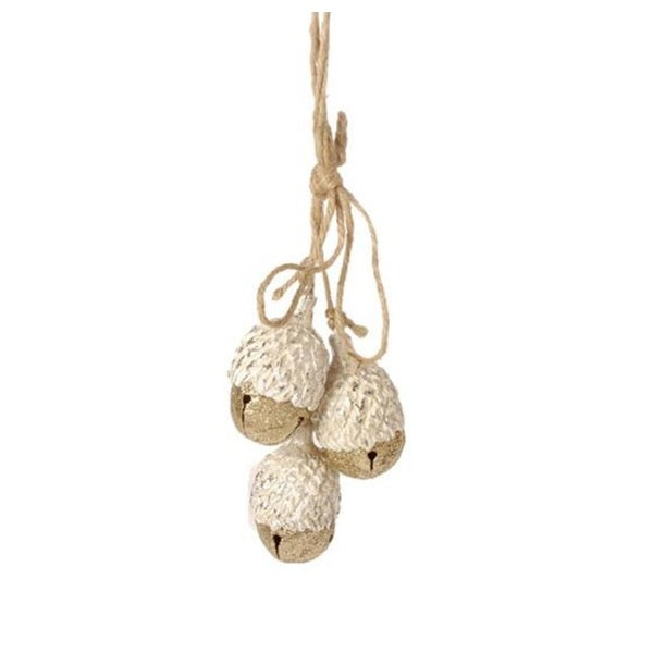 "8"" Eco Country Gold Jingle Bell Acorns Cluster Christmas Ornament"