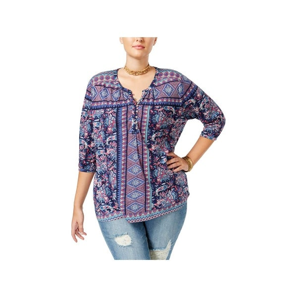 Lucky Brand Womens Plus Casual Top Stretch Aztec Print