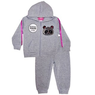 Little Girls Gray Reversible Sequin Bear Face Detail Top 2 Pc Pant Outfit