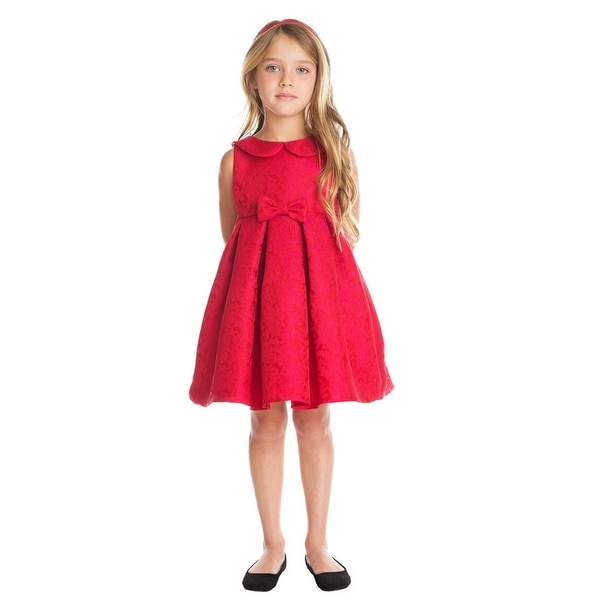 24ae62db628d Shop Little Girls Red Pink Abstract Jacquard Collar Christmas Dress ...
