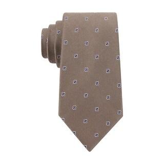 Club Room Estate Neckwear Fine Open Neat Necktie Brown Tie
