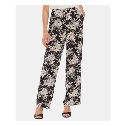 VINCE CAMUTO Womens Black Floral Wide Leg Pants Size 6