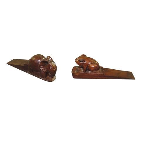 Offex Handmade Frog and Elephant Solid Teak Wooden Door Stopper