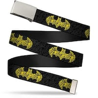Blank Chrome  Buckle Zebra Bat Signal Black Gray Yellow Black Webbing Web Belt