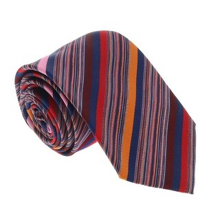 Missoni U5052 Red/Pink/Orange/Brown Multi-Striped 100% Silk Tie - 60-3