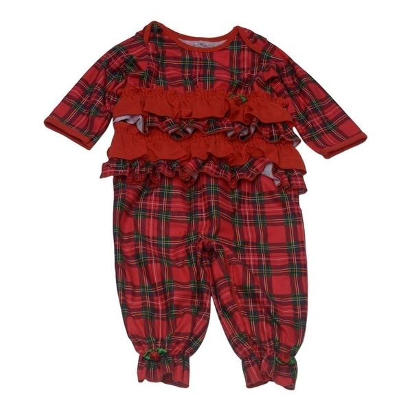 Laura Dare Baby Girls Red Green Plaid Ruffle Jumpsuit Pajama