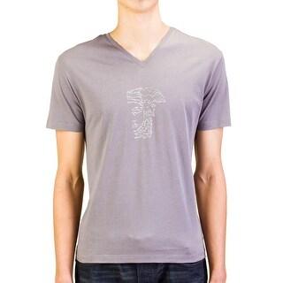 Versace Collection Men Studded Medusa Head V-Neck T-Shirt Grey