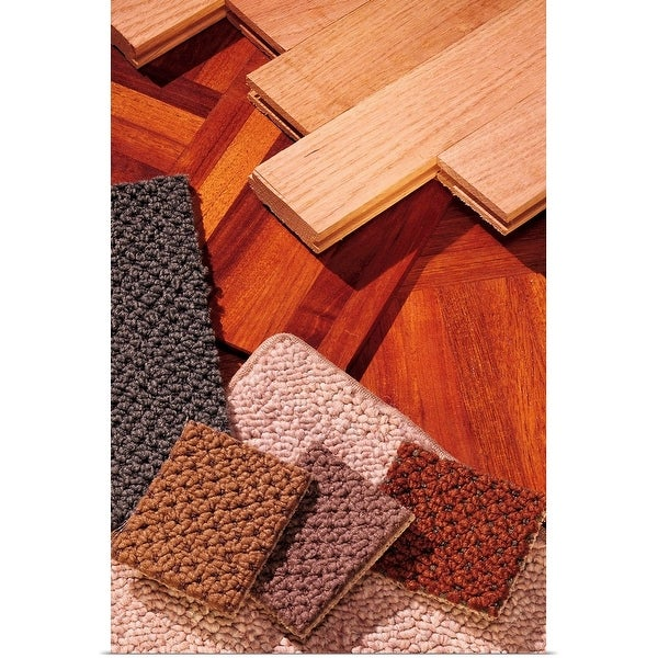 """""""Assorted carpet and wood flooring samples"""" Poster Print"""