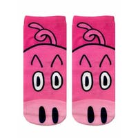 Pig Photo Print Ankle Socks - Pink