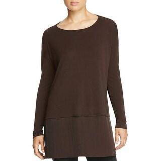 Eileen Fisher Womens Petites Tunic Top Silk Layered Look