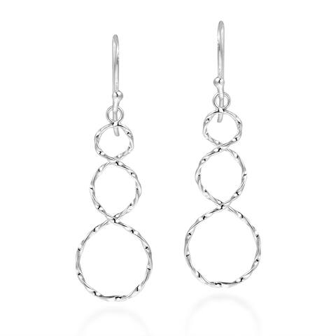 Handmade Endless Textured Infinity Twist Sterling Silver Dangle Earrings (Thailand)
